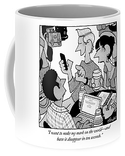 A Man Talks To His Friends While Using His Phone Coffee Mug