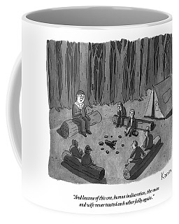 A Man Tells A Scary Story To Campers Coffee Mug
