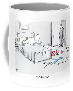 A Man Walks Into A Room To Find His Wife In Bed Coffee Mug