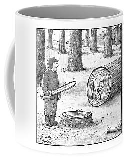 A Man Who Has Just Cut Down A Tree Sees That Coffee Mug