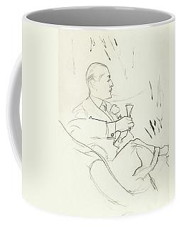 A Man With A Glass Of Wine Coffee Mug