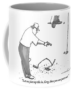 A Man With A Handgun Is Talking And Aiming Coffee Mug