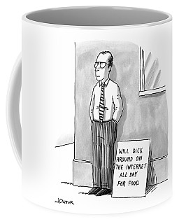 A Man With Glasses And A Tie Is Standing Coffee Mug