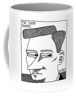 A Man's Head With A Tweed Toupee Coffee Mug