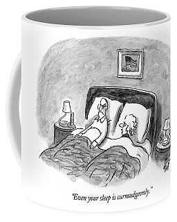 A Married Couple Talks In Bed Coffee Mug