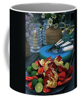A Meal With Lobster And Limes Coffee Mug
