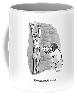 A Medieval Torturer Approaches A Hanging Coffee Mug