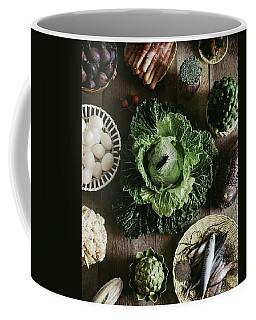 A Mixed Variety Of Food And Ceramic Imitations Coffee Mug