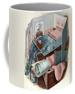 A Model Of A Bedroom On Top Of A Set Of Drawers Coffee Mug