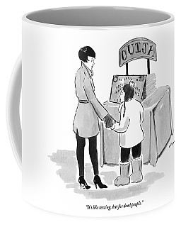 A Mother And Child Are Seen Standing In Front Coffee Mug