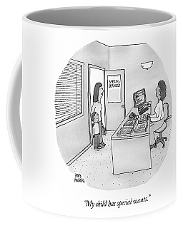 A Mother Brings Her Son Into A Room Labeled Coffee Mug