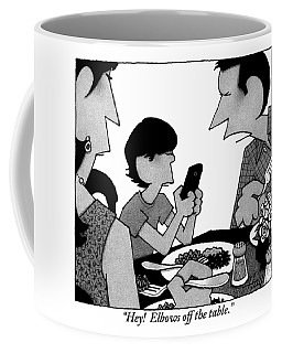 A Mother, Father And Son At Family Dinner Coffee Mug