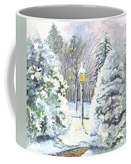 Coffee Mug featuring the painting A Warm Winter Greeting by Carol Wisniewski