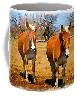 A Pair Of Mules  Digital Paint Coffee Mug