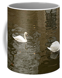 Coffee Mug featuring the photograph A Pair Of Swans Bruges Belgium by Imran Ahmed