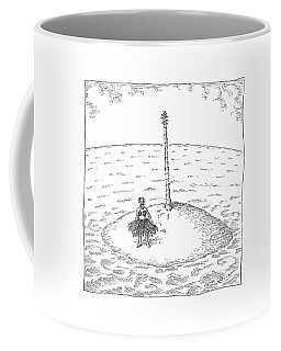 A Person Stands On A Desert Island. The Tree Coffee Mug