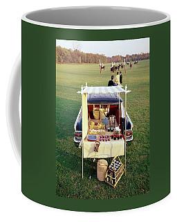 A Picnic Table Set Up On The Back Of A Car Coffee Mug