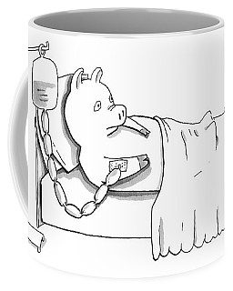 A Pig Is Hooked Up To An Iv Shaped Like Sausages Coffee Mug