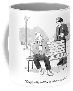 A Police Officer Confronts A Man Drinking Coffee Mug