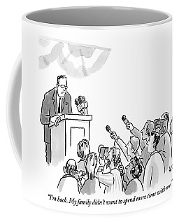 A Politician Addresses A Press Conference Coffee Mug