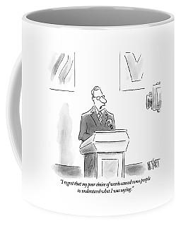 A Politician Speaks At A Podium Coffee Mug