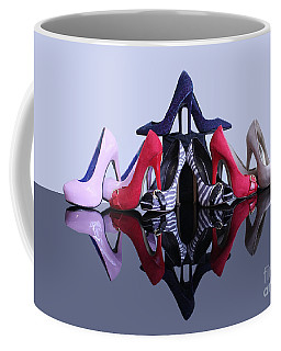 Coffee Mug featuring the photograph A Pyramid Of Shoes by Terri Waters