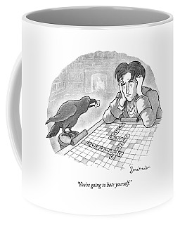 A Raven Is About To Add An N To The Word Evermore Coffee Mug