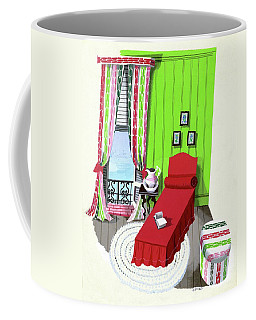 A Red Bed In A Bedroom Coffee Mug