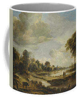 Coffee Mug featuring the painting A River Landscape With Figures And Cattle by Gianfranco Weiss