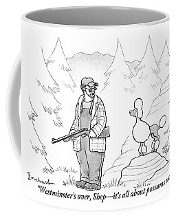 A Rough-looking Man Holding A Shotgun Speaks Coffee Mug
