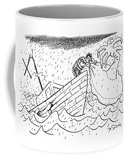 A Sailor Blows Up An Inflatable Island Coffee Mug