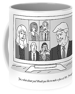 A Screen Split Between Trump And Five Pundits Coffee Mug