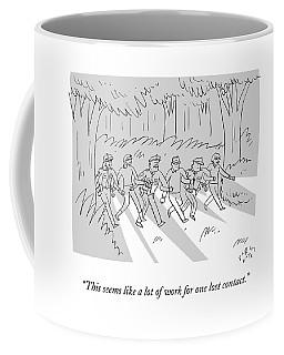 A Search Party Walks In A Human Chain Coffee Mug