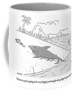 A Shark Speaks To A Fish As It Follows The Fish Coffee Mug