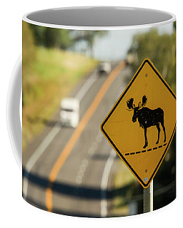 A Sign For Moose In Maine Coffee Mug