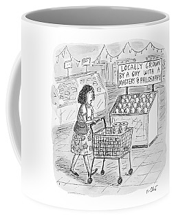 A Sign For Produce In A Grocery Store Reads Coffee Mug