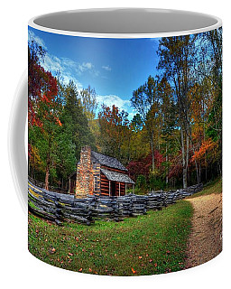Coffee Mug featuring the photograph A Smoky Mountain Cabin by Mel Steinhauer
