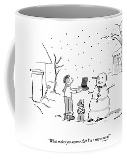 A Snowman Confronts A Mother Coffee Mug