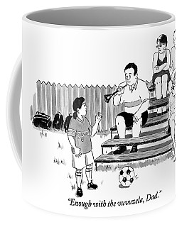 A Soccer-playing Little Girl Chastises Her Father Coffee Mug