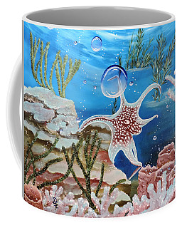 Coffee Mug featuring the painting A Squid Named Sid by Dianna Lewis