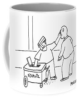 A Street-vendor's Cart Is Labeled Shmutz Coffee Mug