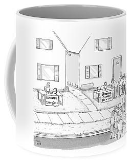 A Suburban Lemonade Stand Attracts No Business Coffee Mug