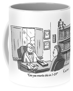 A Suited Man Behind A Desk Addresses A Writer Coffee Mug