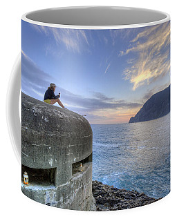 A Sunset Glass Of Wine And A Wwii Pillbox Coffee Mug