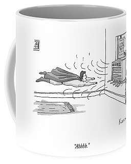 A Superhero Flies In Front Of An Air Conditioner Coffee Mug