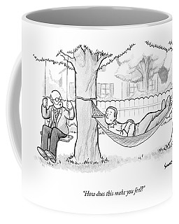 A Therapist Sits On A Swing Behind And Addresses Coffee Mug