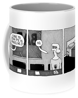 A Three-panel Cartoon. In The First Coffee Mug