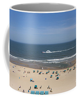 A Touring Speedboat Passes By Shore In Ocean City Maryland Coffee Mug