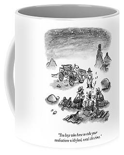 A Trail Cook Speaks To Three Prospectors Coffee Mug