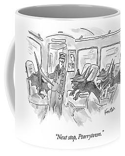 A Train Conductor Makes An Announcement To A Car Coffee Mug